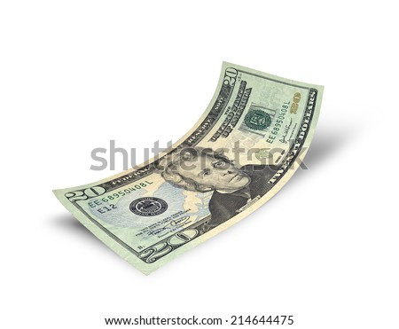 Twenty dollars banknote isolated on white background - stock photo