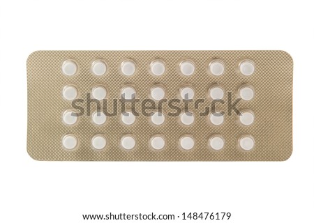 Twenty eight tablet in blister pack show weekly cycle package - stock photo
