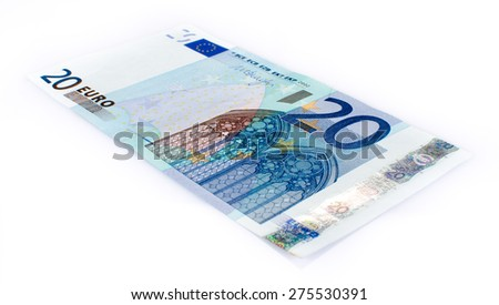 Twenty euro banknote, isolated on white