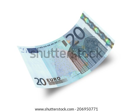 twenty euro banknote isolated on white background  - stock photo