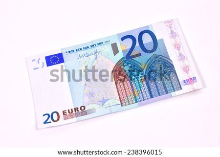 Twenty Euro banknote on white background - stock photo