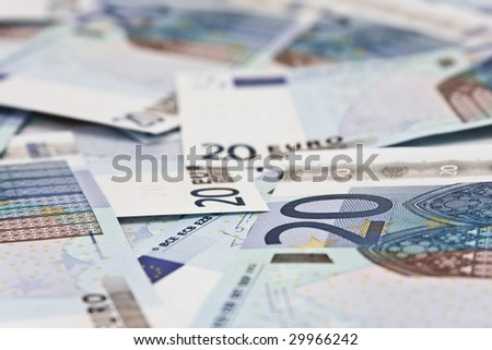 Twenty euro banknotes, can be used as a background