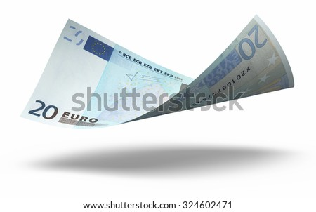 Twenty Euro banknotes close-up (isolated on white and clipping path) - stock photo