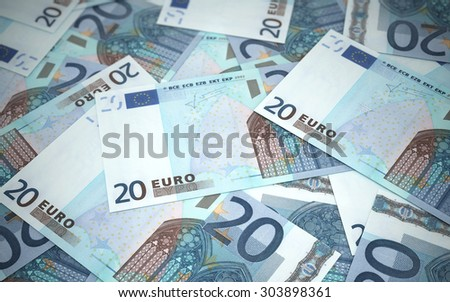 Twenty Euro banknotes stacks (depth of field) - stock photo