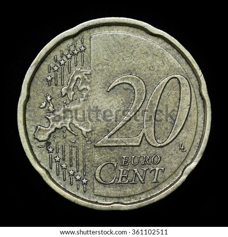 Twenty euro cent on black background