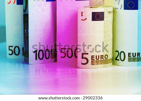 Twenty, Fifty, Five, One Hundred and Five Hindred Euro banknotes focusing on five. - stock photo