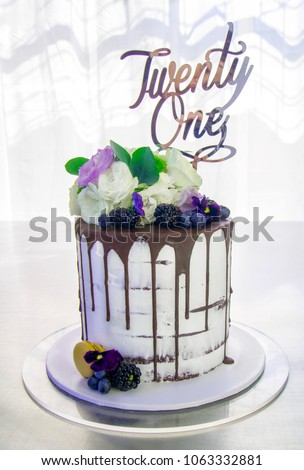 Twenty First Birthday Cake Chocolate Dripping Icing With Real Flowers And Fruit Bit