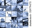 Twenty five blue toned images relating to business - stock photo