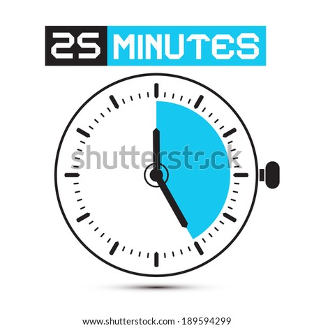 Twenty Five Minutes Stop Watch - Clock Illustration - stock photo
