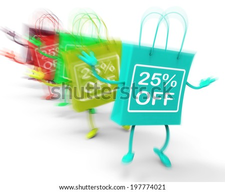 Twenty-five Percent Off On Colored Bags Showing Bargains - stock photo