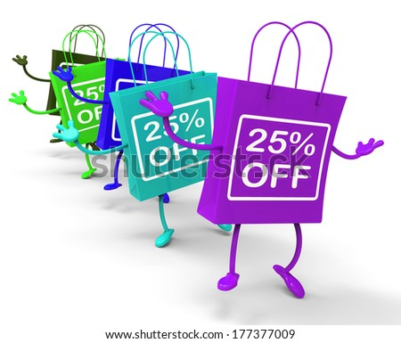 Twenty-five Percent Off On Colored Shopping Bags Showing Bargains - stock photo