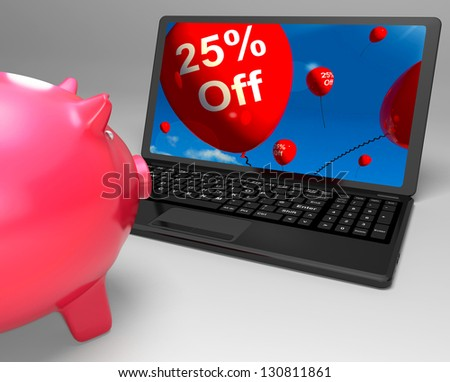 Twenty-Five Percent Off On Laptop Shows Discounts And Special Deals - stock photo