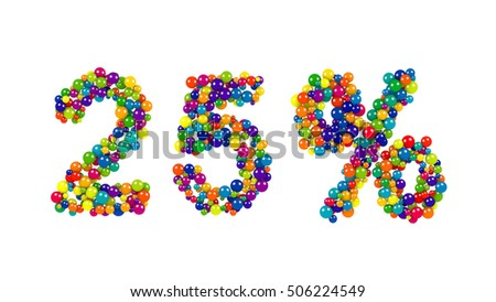 Twenty-five, 25, percent symbol in colorful vivid balls in the colors of the spectrum for advertising and marketing, business, education or accounting isolated on white