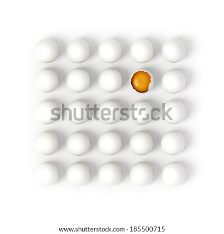 Twenty five white eggs in rows with one broken showing yolk on white background - 3d render illustration - stock photo