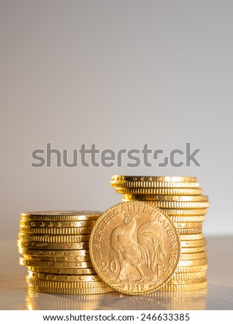 Twenty French Francs gold coins - stock photo