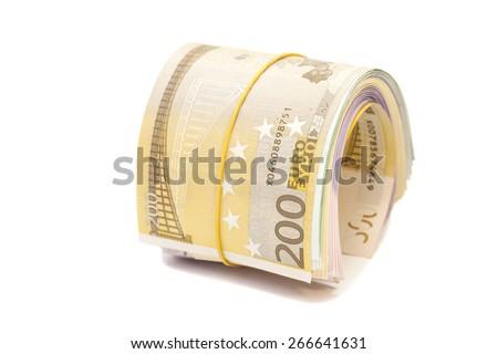 Twenty hundredth banknotes under rubber band  - stock photo