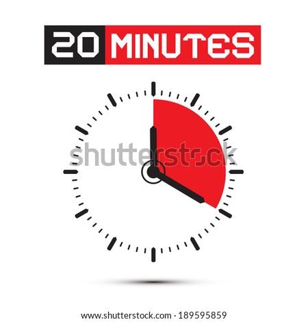 Twenty Minutes Stop Watch - Clock Illustration - stock photo