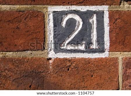 Twenty one in a wall - stock photo