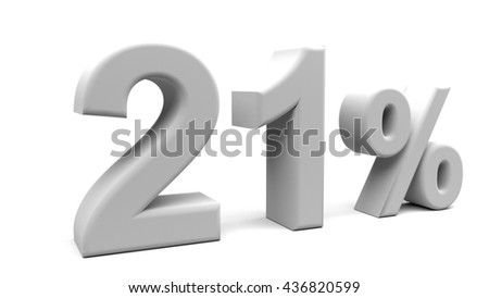 Twenty one percents 3D text, with big fonts isolated on white background. 3D rendering.