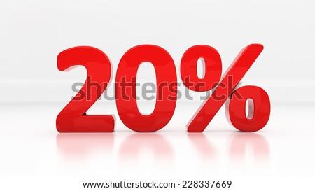 Twenty percent off. Discount 20.  Percentage. 3D illustration - stock photo