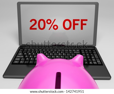 Twenty Percent Off On Notebook Showing Sales And Promotions