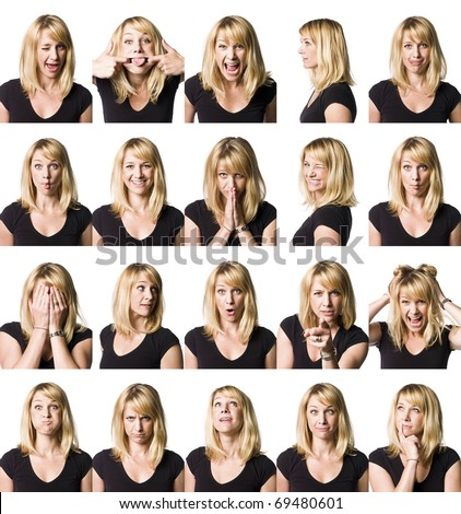 Twenty portrait of a woman with different expressions - stock photo