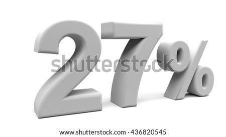 Twenty seven percents 3D text, with big fonts isolated on white background. 3D rendering.