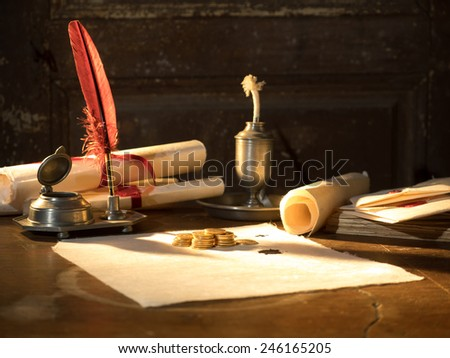 Twenty Swiss Francs gold coins Antique parchment paper sheets  - stock photo