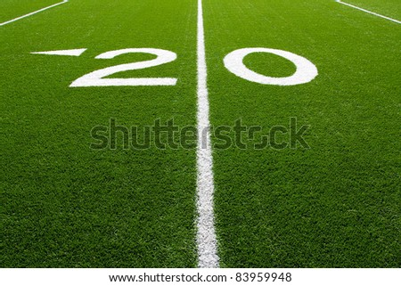 Twenty Yard Line of a Football Field, (Part 8 of 9 Series) - stock photo