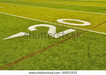 Twenty Yard 20 Line on American Football Field - stock photo