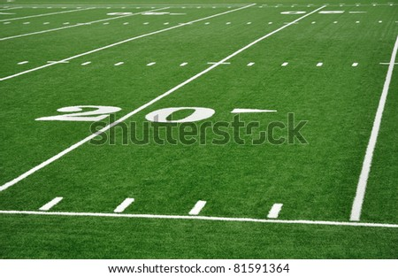 Twenty Yard Line on American Football Field with Hash Marks - stock photo