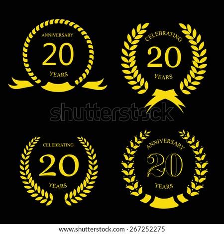 twenty years anniversary laurel gold wreath -  20 years set - stock photo