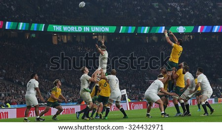 TWICKENHAM, ENGLAND - OCTOBER 03 2015: The 2015 Rugby World Cup Pool A match between England and Australia at Twickenham Stadium on October 03, 2015 in London, United Kingdom. - stock photo