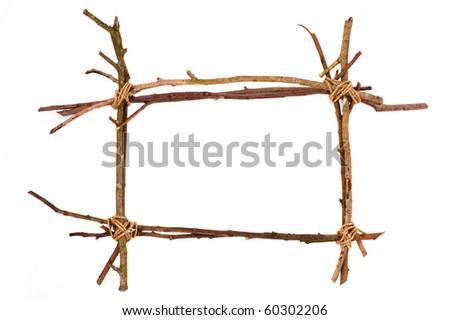 twig frame on white background - stock photo