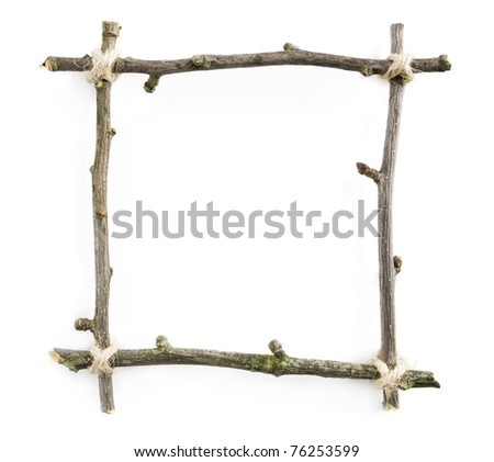 Twig frame with rope isolated on white background with blank space for text