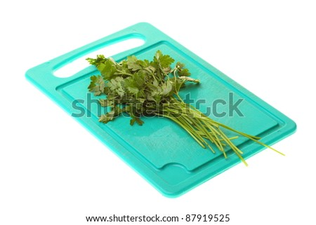 Twig of parsley isolated on the white background.