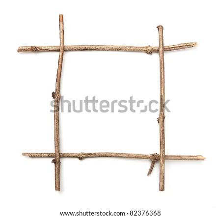 Twig stick frame - stock photo