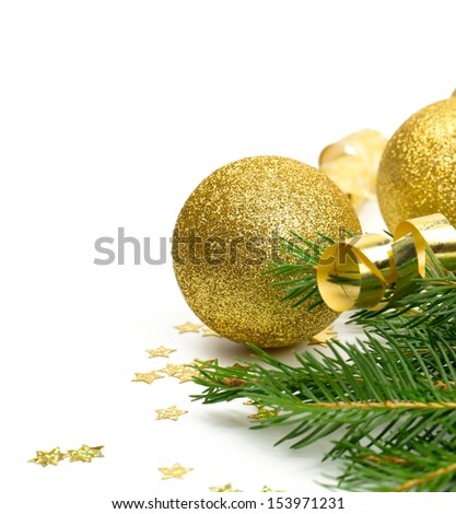 twigs of spruce, balls, confetti and ribbons isolated on white - stock photo