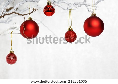 twigs with baubles - stock photo