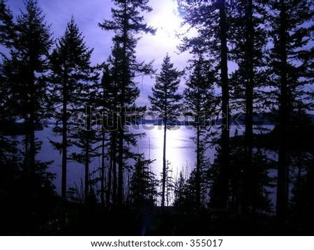 Twilight along world famous Chuckanut Drive in Northwest Washington state - stock photo