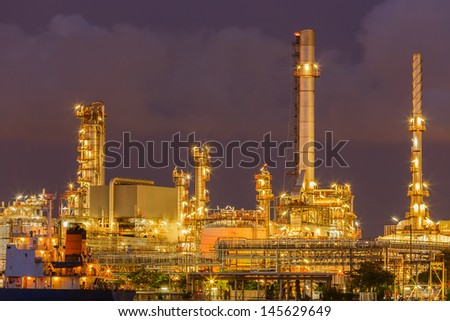 twilight and cloudy on factory - stock photo