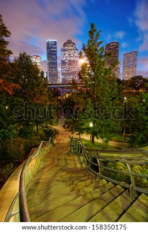 Twilight and Downtown Houston Skyline - stock photo
