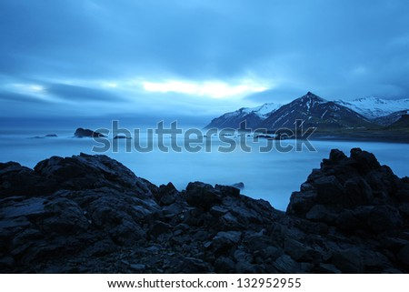 twilight arctic coast in the east fjords in iceland - stock photo