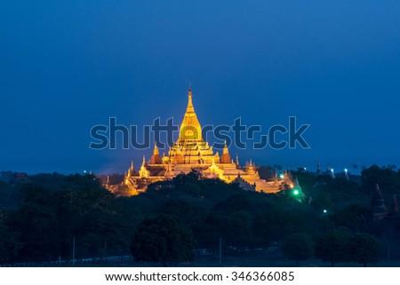 twilight at ancient Beautiful temple in Bagan , Myanmar - stock photo