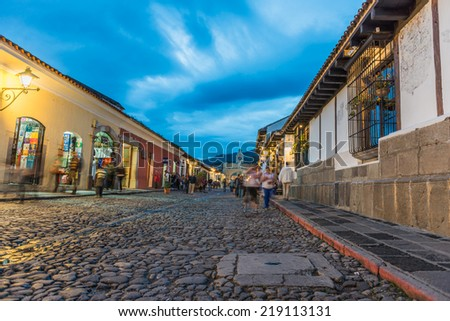 Twilight at Antigua Guatemala - stock photo