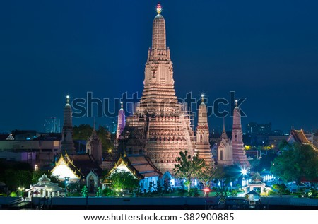 Twilight at Arun temple, The most famous tourist destination in Bangkok Thailand - stock photo