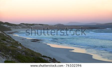 Twilight at Fourth Beach, near the town of Esperance in Western Australia. - stock photo
