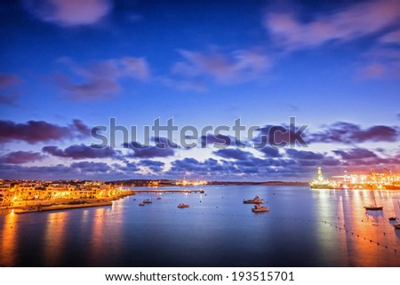 Twilight at South West Malta. Birzebbuga town. - stock photo
