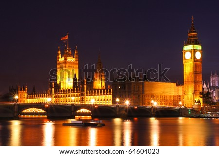 Twilight at Westminster, United Kingdom - stock photo