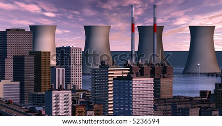 Twilight clouds over the flooded city's cooling towers - stock photo